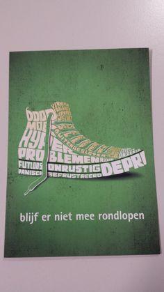 Boomerang, deze flyer bevat weinig tekst en informatie. De afgebeelde schoen is heel creatief in elkaar gezet door middel van tekst. De boodschap valt een klein beetje weg door de creatieve uiting, maar naast dat is dit een hele mooie uiting.