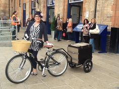 Lady Chacha welcomes people at Leicester London Road Station.