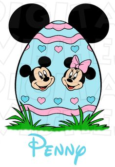 Mickey and Minnie Mouse Easter Egg INSTANT DOWNLOAD digital clip art DIY iron on transfer for t-shirts by My Heart Has Ears