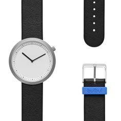 Bulbul Facette 05 Matt Steel on Black Italian Leather Minimalist Watch F05