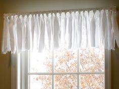 homemade white sheer window valance