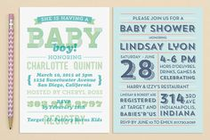 Modern Typography Baby Shower Invitations | Love vs. Design