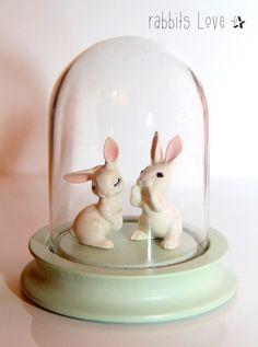 Petits lapins et globe miss étoile chez Les Fleurs