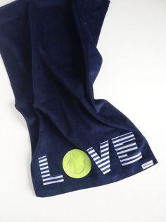 Navy Blue LOVE Tennis Towel. #tennis