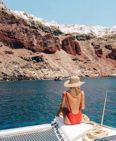 Sailing around Santorini. Bikini: mime swim // // by elsa's wholesome life