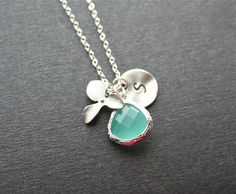 Personalized Aquamarine Necklace. Orchid Necklace by smilesophie, $20.00