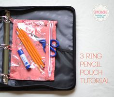 Back-to-School 3-ring pencil pouches...great tutorial to make cute pouches!