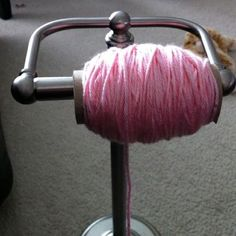 …..toilet paper holder with yarn next to the couch