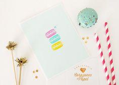 Colorful Macaroons Handmade Card by Tarjeteria Corazones de Papel