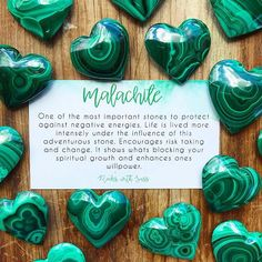 MALACHITE AFFIRMATION: I choose to attract positivity around me by radiating positive energy from within. I choose to love and not give in to fear. *link will take you to Malachite tumbles as the hearts are currently sold out* Chakra Crystals, Crystals And Gemstones, Stones And Crystals, Gem Stones, Crystals Minerals, Gemstone Properties, Healing Heart, Healing Power, Crystal Healing Stones