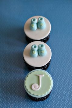 Baby Shower Fondant Bootie Shoe and Monogram by parkersflourpatch, $20.00