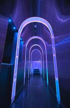 Dorsia Lower Ground Floor Nightclub. Love the lighting for hallway in underground night club