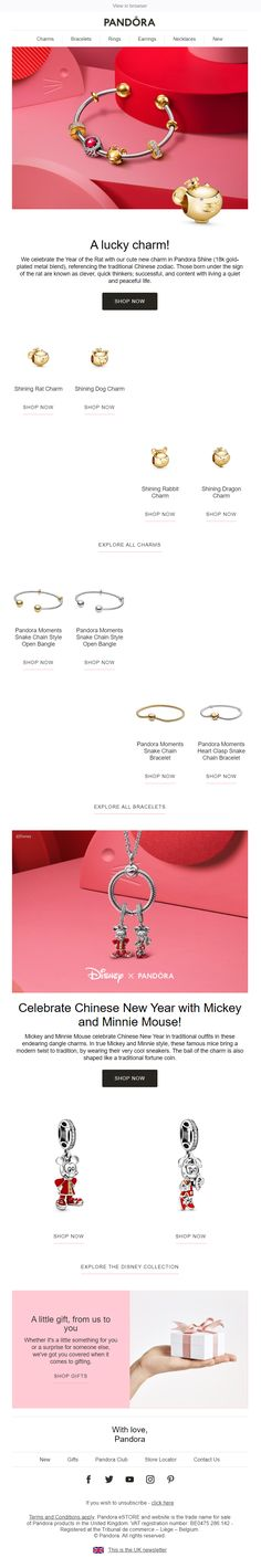 Chinese New Year email with recommendations from Pandora Pandora Uk, Pandora Jewelry, Gold Jewelry, Jewellery, Chinese New Year, Email Marketing, First Love, Rose Gold, Learning