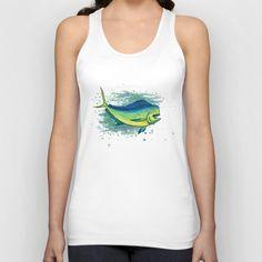 """Apparel • """"Mahi Mahi Splash"""" - Watercolor art of a bull mahi, (aka dolphin fish or dorado) by Amber Marine ••• AmberMarineArt.com ••• ©"""