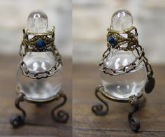 Lachrymatory - Bottles like these were used to catch tears when a loved one passed away. Mourning Jewelry, Antique Perfume Bottles, Potion Bottle, Bizarre, Memento Mori, Or Antique, Bling, Crystals, Halloween