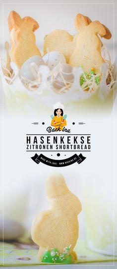 Osterkekse: Gefülltes Zitronen Shortbread in Hasenform | BackIna.de Fabulous Foods, Easter Recipes, Vegan Vegetarian, Baking Recipes, Easter Eggs, Form, Food And Drink, Sweets, Candy