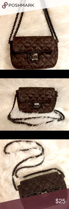 7cc319faadbb20 VICTORIAS SECRET, rich dark brown w/silver hardware, crossbody bag. Length  can be adjusted by pull through chord amount in single-to-double strap.