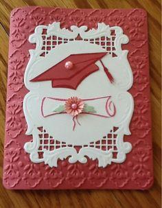 Sarah grad card by Karen Kurtz Graduation Cards Handmade, Graduation Crafts, Graduation Invitations, Handmade Birthday Cards, Graduation Cookies, Embossed Cards, Invitation Card Design, Congratulations Card, Card Making Inspiration