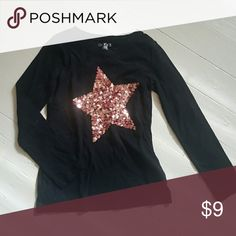 Girls Sequin Star Top Excellent Condition Cherokee Shirts & Tops Tees - Long Sleeve