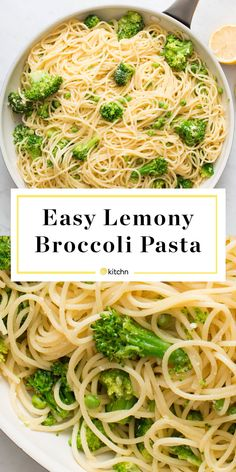 Lemony Broccoli Pasta Recipe Need recipes and ideas for quick and easy kid friendly dinners even picky eaters and toddlers will love This easy healthy vegetarian pasta di. Broccoli Pasta, Broccoli Florets, Broccoli Ideas, Broccoli Lemon, Spaghetti With Spinach, Vegetarian Pasta Dishes, Vegetarian Broccoli Recipes, Meatless Pasta Recipes, Salad Recipes
