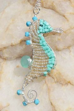 Turquoise Wire Wrapped Seahorse Pendant. Beaded seed beads seahorse