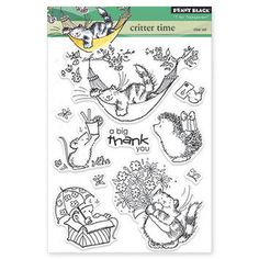 Brand new Set of 10 cute high quality clear photopolymer stamps Product #30-234  CRITTER TIME  This set includes 5 larger stamps, 4 small