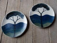 Ceramic side plate set, mountain tree side plates,handmade painted plates, Australian Ceramics, ceramics and pottery, side plate set