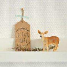 Image of Etiquettes kraft Joyeux Noël (x6)