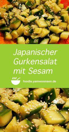 Japanischer Gurkensalat mit Sesam Japanese cucumber salad with sesame seeds Salad Recipes Healthy Lunch, Salad Recipes For Dinner, Chicken Salad Recipes, Easy Healthy Recipes, Japanese Cucumber Salad, Creamy Cucumber Salad, Spinach Salad, Salads For A Crowd, Easy Salads
