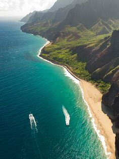 Napali Coast, Kauai - only can be seen from air or boat.  Dreamy, soaring cliffs and baby waterfalls.