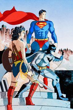 The DC Trinity: Superman, Wonder Woman and Batman by Ian Navarro. Dc Comics Superheroes, Dc Comics Characters, Dc Comics Art, Marvel Dc Comics, Marvel Art, Dc Heroes, Comic Book Heroes, Comic Books, Comic Art
