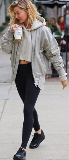 Hailey Baldwin - bomber jacket
