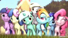 #1377114 - 3d, artist:bwaebutt, bon bon, derpy day, derpy hooves, lyra heartstrings, minuette, pinkie pie, princess twilight, rainbow dash, safe, smiling, source filmmaker, sweetie drops, twilight sparkle - Derpibooru - My Little Pony: Friendship is Magic Imageboard