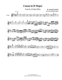 1st Violin sheet music for Canon in D Major from La Corda D'oro~Primo Passo