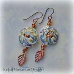 Handmade Secret Garden Ceramic and Copper Earrings. $45.00, via Etsy.