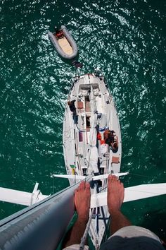 From the top of the mast while sailing through the Caribbean - Tobago Cays in the Grenadines...