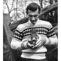 Mens Knitted Motif Sweater Pattern No 1242 | Todays Treasure Pattern Shop