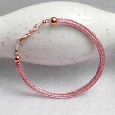 Ladies viking knit metalwork bracelet in rose gold by DonnaDStore