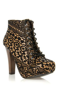 Women Black Qupid Puffin 39 Black Fabric Lacy Lace-Up Booties