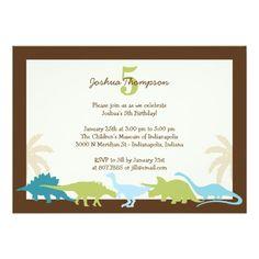 Darling Dinosaurs Birthday Party Invitation Custom Announcements