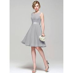 a line grey bridesmaid dresses tea length