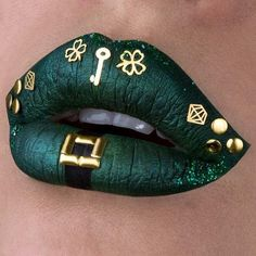 Lip art for St. Patrick's Day Lip art for St. Lip Art, Lipstick Art, Lipstick Shades, Lipsticks, Lipstick Designs, Lip Designs, Makeup Designs, Green Lipstick, Lipstick Colors