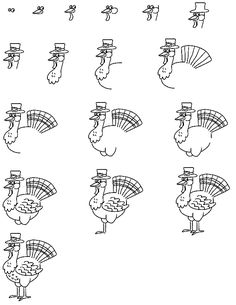 Learn to draw a thanksgiving turkey step by step