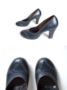 Wingtip 40s Shoes / 1940s Shoe  / Navy Shoe /  by MinxouriVintage, $62.00