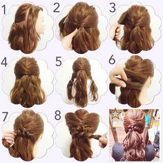 *ハーフアップアレンジ* 1.サイドを耳のラインで分けとり、センターは耳の少し上くらいでゴムで結ぶ。 2,3,4左右の髪をタイトにもってきてピンで止める。 5.センターのみ残し、襟足の髪を分けとる。 6.上にむかってツイストする。 7.ツイストを崩してピンで止める。 (ツイストの崩し方#プロセス あります) 8.左も同様、ツイストして崩し方てピンで止める。 .☆.完成!! (過去にupしたアレンジです) アレンジプロセス*howto*ヘアアレンジ*