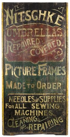 old ad   Nitschke umbrellas repaired covered picture frames made to order needls & supplies for all sewing machings 5.75-inches high, 31.875-inches wide, 2.25-inches deep. $3,725