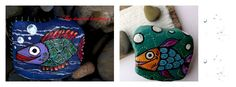 Collection of naive art on rocks #fish rustic design https://www.facebook.com/pages/The-Stunner-Boutique/456809484484281