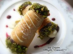 Phyllo Dough Cannoli Filled with Ice Cream