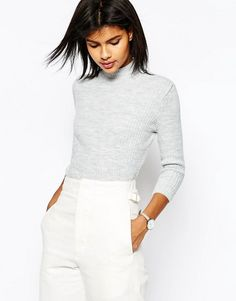 ASOS | ASOS Jumper In Rib With High Neck