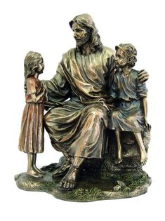 Jesus Christ With Children Statue from the Veronese Collection Beautiful depiction of Jesus sitting with children at his side. This statue is a loving gift for any parent, Christian school teacher, pa Jesus Christ Statue, Italian Statues, Christian School, Christian Gifts, In Christ Alone, Catholic Gifts, Mother Mary, Michelangelo, Saints